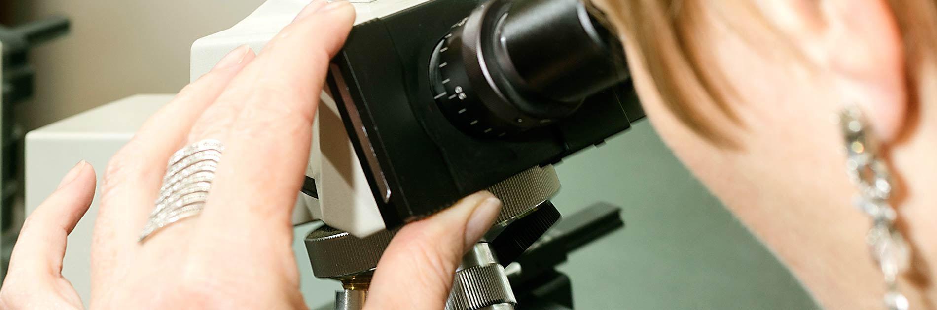 Birgit Gmeiner bei der Haar-Mikroskopie