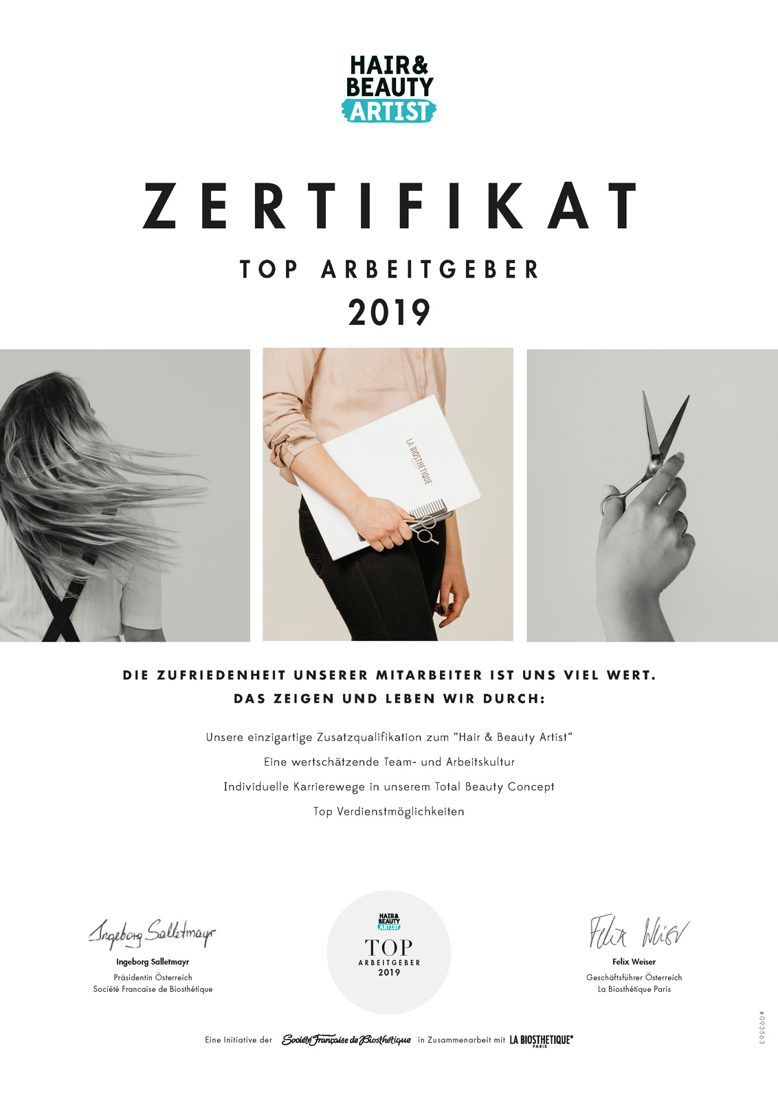 Zertifikat Hair & Beauty Artist 2019 - Salon Birgit Gmeiner